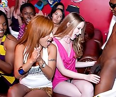 Horny party girls share a huge cock