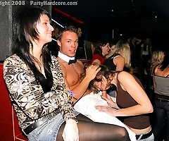 Real Amateur Babes get on Their Knees For A Taste of Hot Stripper Cock at Amateur CFNM Party